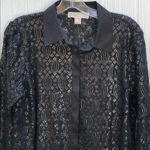 MICHAEL Michael Kors sequin lace button down top